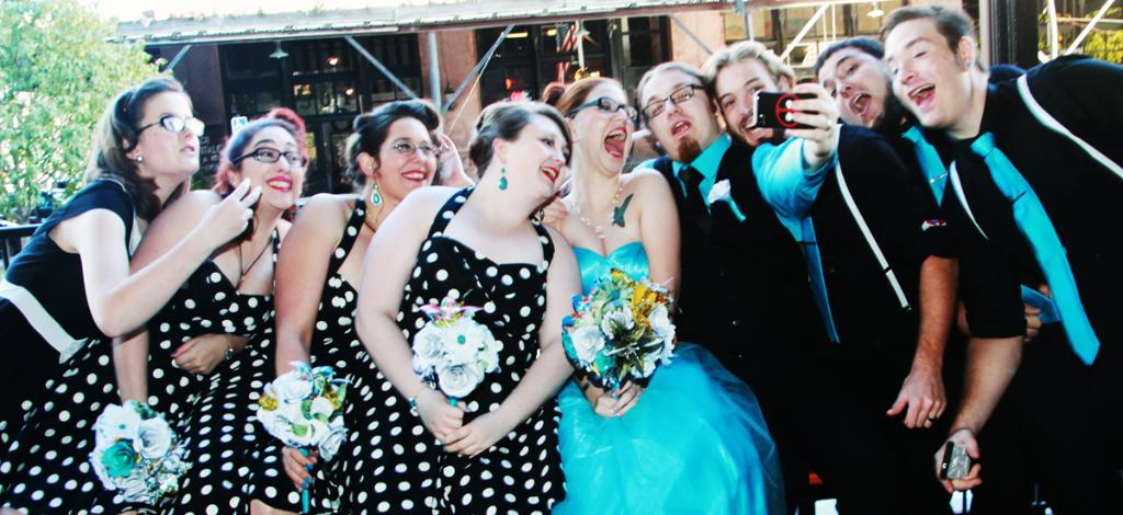 This is a creative wedding photo taken in the Old Market in Omaha by M.J.B. Photography